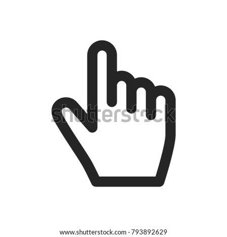Hand click icon, cursor symbol. Finger pictogram, flat vector sign isolated on white background. Simple vector illustration for graphic and web design. #793892629