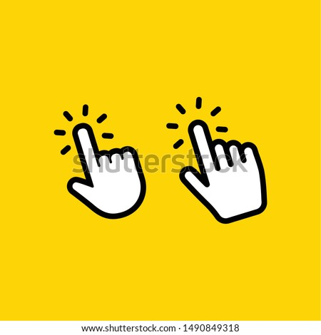 Hand click icon. Set of hands clicking.