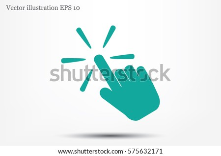 Hand click icon vector illustration eps10. Isolated badge for website or app - stock infographics