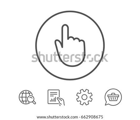 hand click line icon finger