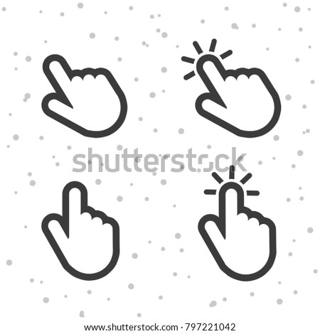 Hand click pointer icons. Finger touch symbols for apps and websites.