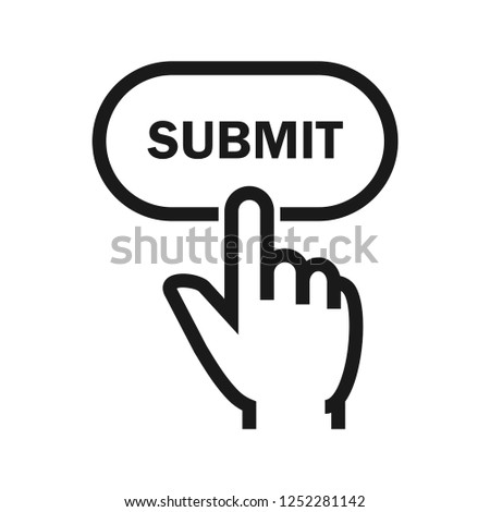 Hand click submit button. Simple flat design. Isolate on white background. Stockfoto ©