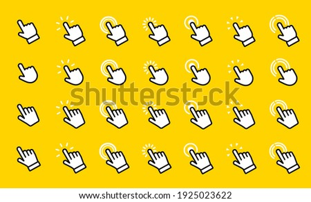 Hand click vector icons set. Website computer interface button. Illustration for graphic and web design. Vector symbols collection Pointer, Clicking finger, click, cursor, hand clicks, Touch pointer