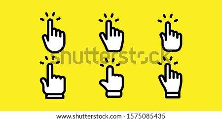 Hand clicking icons collection. Set of finger pointers.