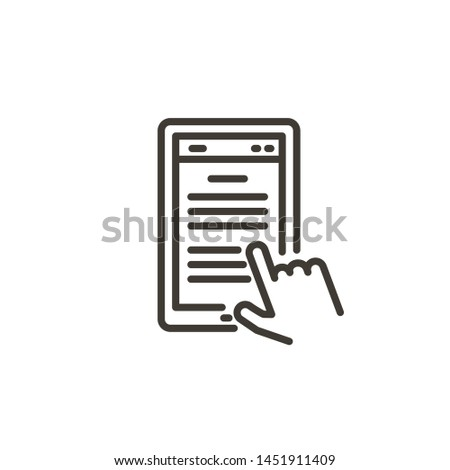 Hand clicking in a portable tablet device with text. Modern trendy vector thin line icon illustration ffor applications and concepts related with information media devices and technology