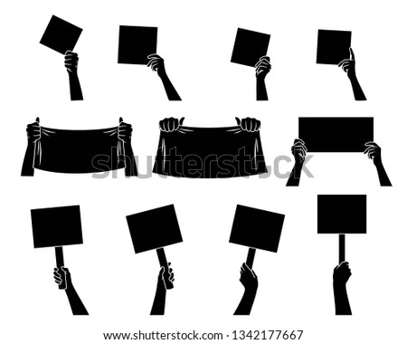 Hand collection. Hands holding signs, posters and blanks. Black silhouette  Different hand gestures.  Isolated. Vector