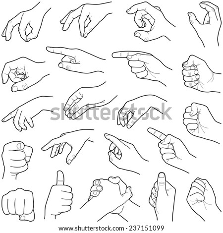 hand collection   vector line