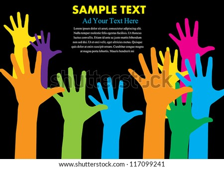 Hand colorful with copy space vector illustration