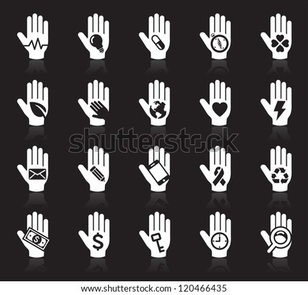 Hand concept icons. vector set2. vector illustration. More hand icons in my portfolio.