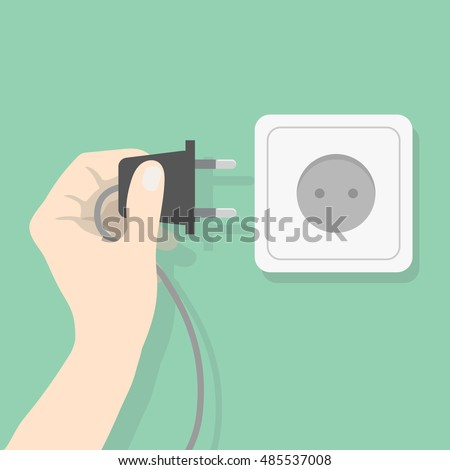 Hand connecting electrical plug. Man holding electric power plug. Electricity concept vector illustration