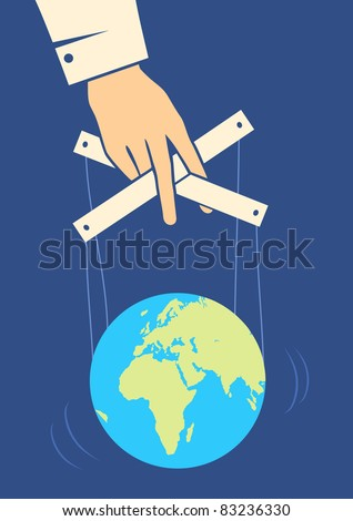 Hand controls the Earth like a puppet
