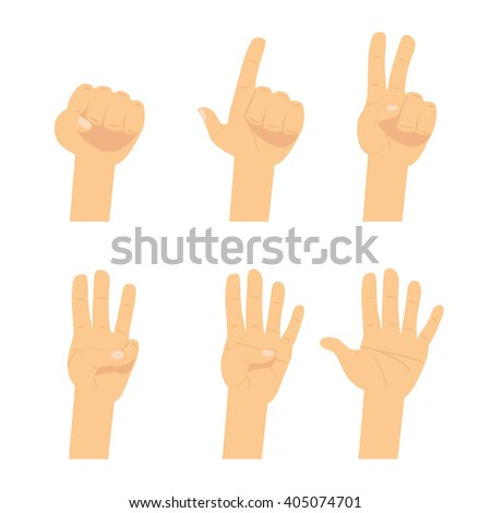 hand count  flat finger and