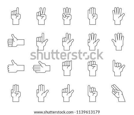 Hand counting and hand gesture icon such as like, love, fist, thin line