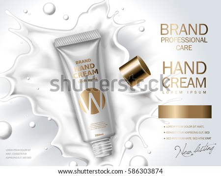 hand cream contained in cosmetic tube, white milk background, 3d illustration
