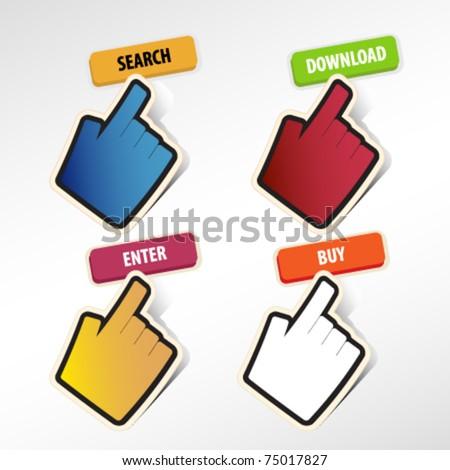 hand cursor click button. vector.