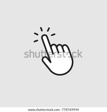 Hand cursor, clicking pointer vector icon