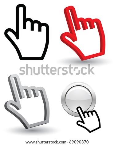 hand cursor 3d - stock vector
