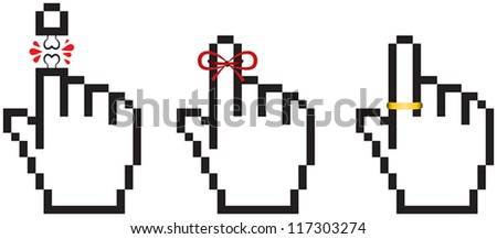 Hand cursor infidelity set A set of 3 hand cursors showing a wedding ring, a red string tied around a finger and a dismembered finger.