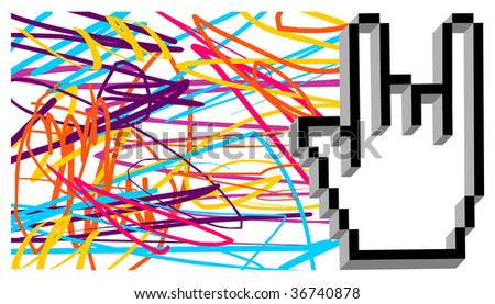 Hand cursor making the gesture of metal music with texture of grunge colored lines on white background. Vector available