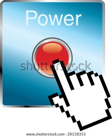 hand cursor on power button