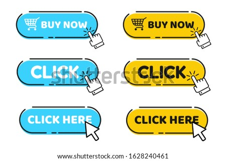 Hand cursor vector icon with blue click button. Click here for links to websites.