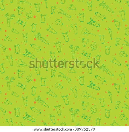 hand draw animal doodles vector