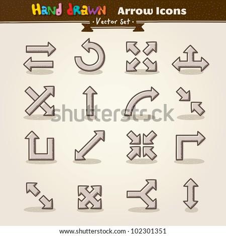 Hand Draw Arrow Icon Set. Vector illustration. - stock vector
