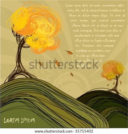 Hand-draw autumn background design - stock vector
