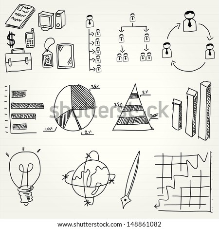 hand draw business management icon set