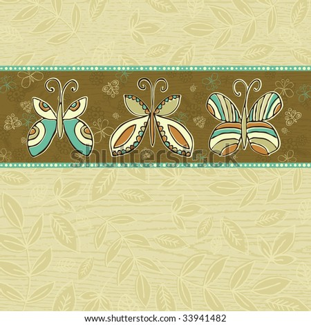 hand draw  butterflies on  beige squares background