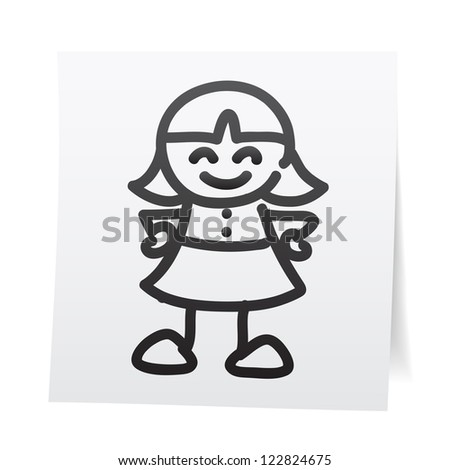 Hand draw cartoon on paper note stickers.eps10 - stock vector