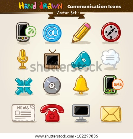 Hand Draw Communication Icon Set. Vector illustration.