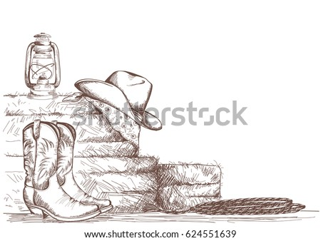 hand draw cowboy background