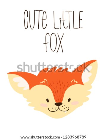 hand draw cute cartoon character. Children's vector illustration. Template for a babyish postcard. Redhead, funny fox with the inscription. isolated on white background