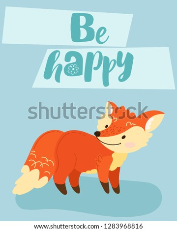 hand draw cute cartoon character. Children's vector illustration. Template for a babyish postcard. Redhead, funny fox with the inscription. On blue background