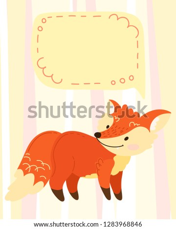 hand draw cute cartoon character. Children's vector illustration. Template for a babyish postcard, wish, invitation. Redhead, funny fox with place for signature. On a striped background