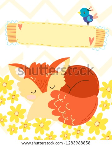 hand draw cute cartoon character. Children's vector illustration. Template for a babyish postcard, wish, invitation with place for signature. Redhead, funny fox and blue bird. On chevron background