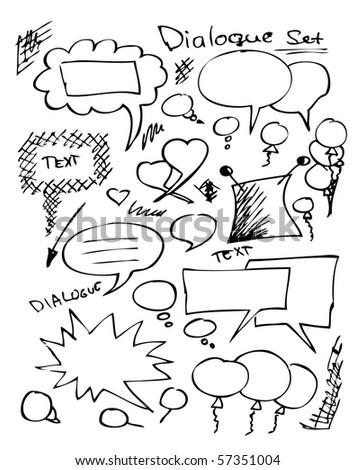 hand draw dialogue set