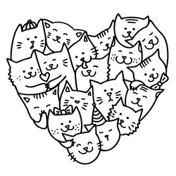 Hand draw doodle cats for Valentine's Day. Lots of cute cartoon cats in the shape of a heart. Coloring book for children. Doodling cats in love. Black outlines isolated on a white background. Vector