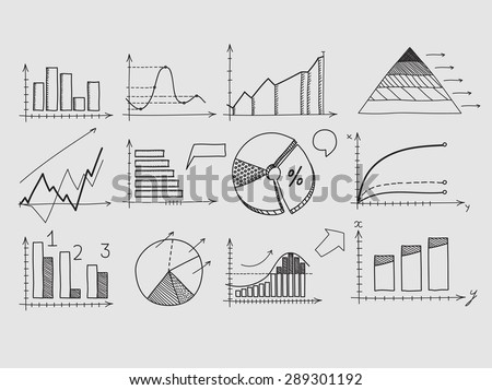 Hand draw doodle elements chart graph. Concept business finance analytics earnings statistics