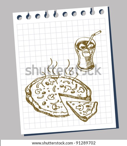 hand-draw doodle sketch pizza cartoon