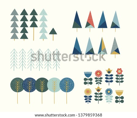 Hand draw elements with scandinavian trees and flowers in pastel colors. Cute tree inspired by scandinavian folk art. Illustration with colorful flower isolated on light background. Nordic nature.
