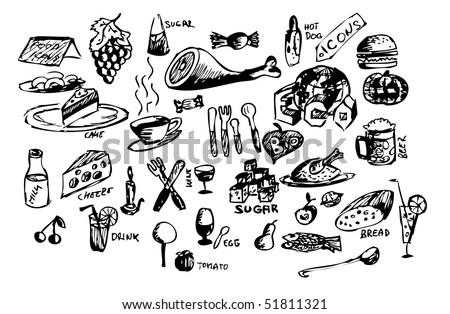 hand draw food symbols