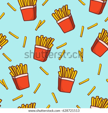 hand draw french fries doodle