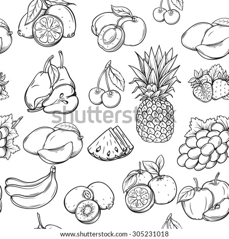 hand draw fruits seamless