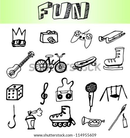 hand draw fun element icons set