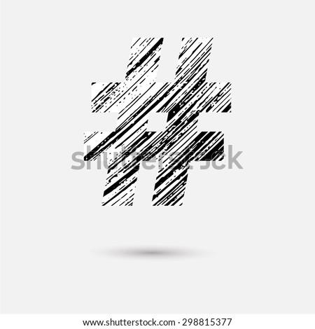 Hand draw hashtag symbol