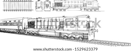 hand draw Illustration set of train, train drawing, train drawing outline