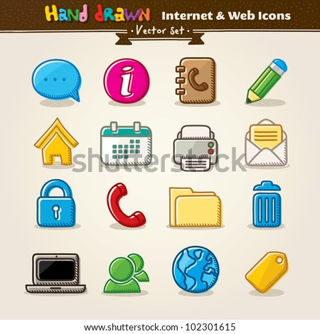 Hand Draw Internet And Web Icon Set. Vector illustration.