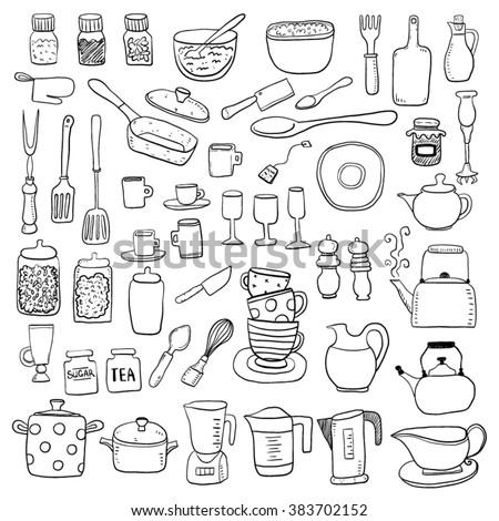 hand draw kitchen utensils
